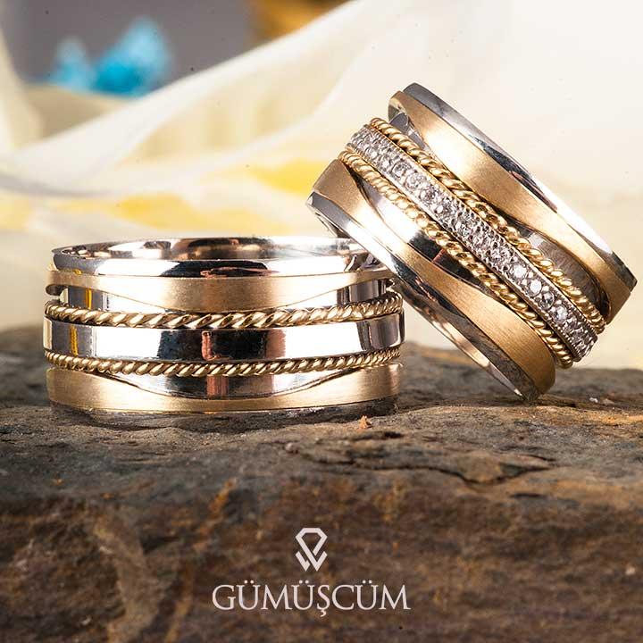 Seaside Gümüş Alyans Modeli Altın Kaplama Alyans Çifti