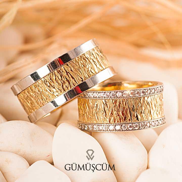 Çınar Gümüş Alyans Modeli Altın Kaplama Alyans Çifti
