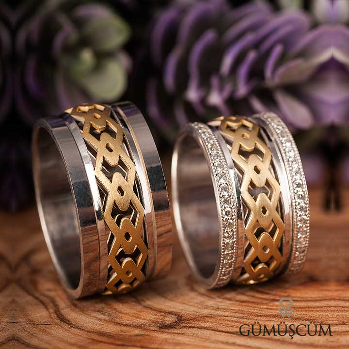 Anemon Modeli Gümüş Alyans Çifti