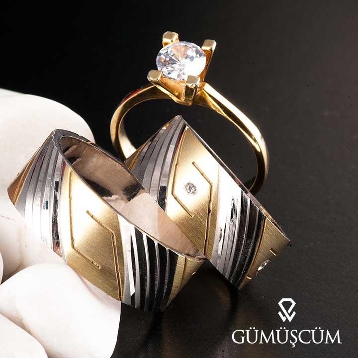 Kalemli Greek  Model Gümüş Alyans Çifti