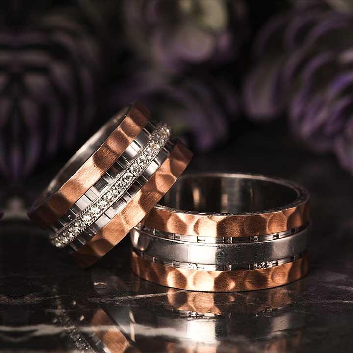 Karanfil Gümüş Alyans Modeli Rose Kaplama Alyans Çifti