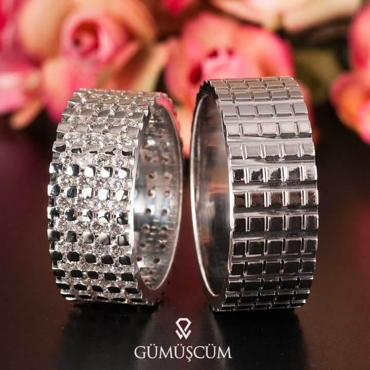 Pırıltı Gümüş Alyans Modeli Taşlı Alyans Çifti
