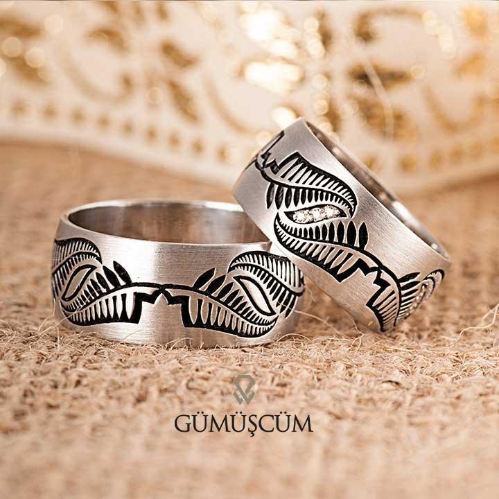 Kanat  Modeli Gümüş Alyans Çifti + TEK TAŞ YÜZÜK HEDİYE