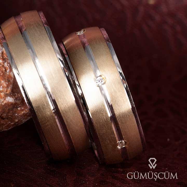 Lara Modeli Bombeli Altın Kaplama Gümüş Alyans Çifti