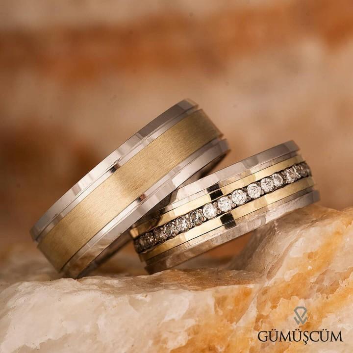 Burçak Gümüş Alyans Modeli Altın Kaplama Nişan Yüzüğü