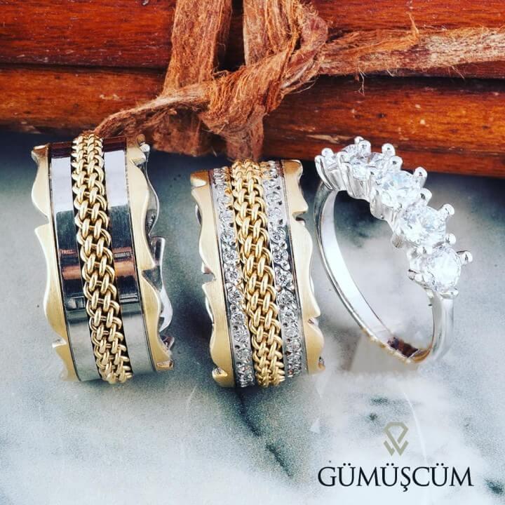 Lavinya Modeli Gümüş Alyans Çifti