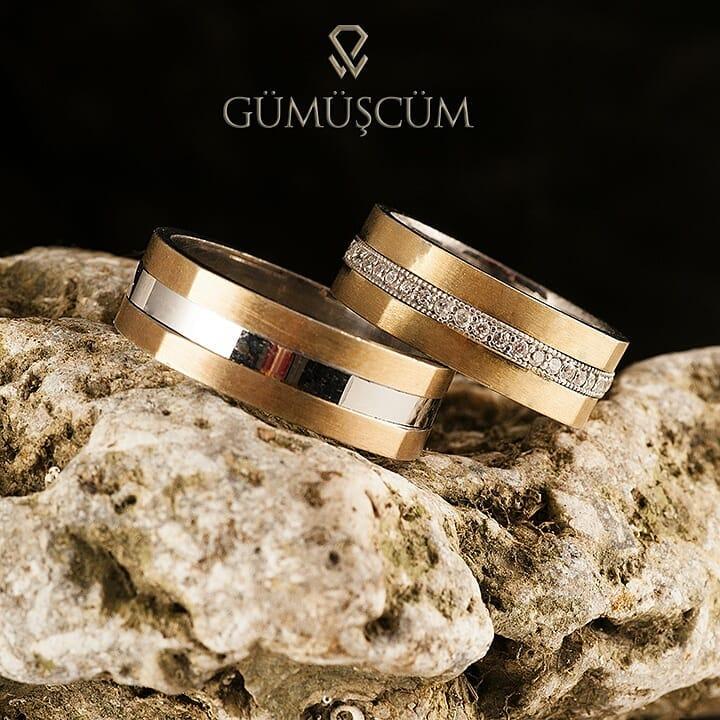 Akasya Gümüş Alyans Modeli Altın Kaplama Alyans Çifti