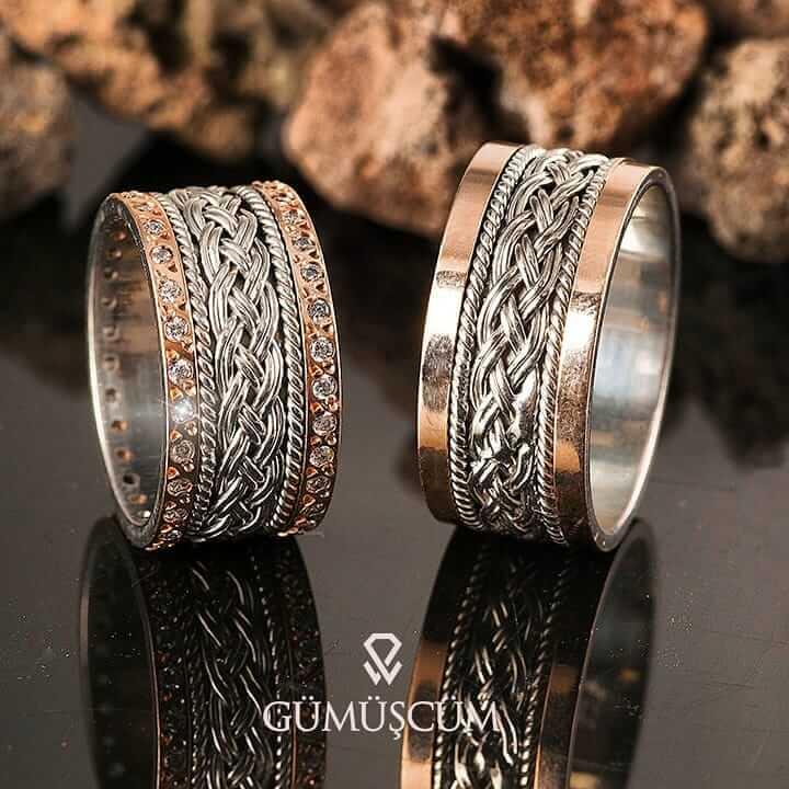Rose Örgü Gümüş Alyans Modeli Taşlı Alyans Çifti