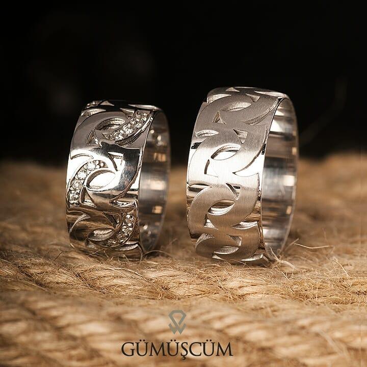 Motif Modeli Gümüş Alyans Çifti