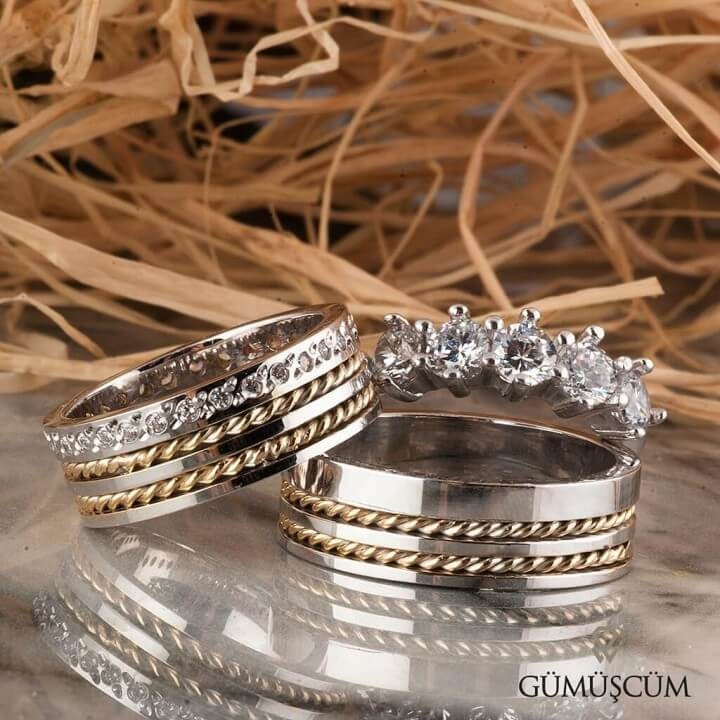 Çift Burgu Taşlı Gümüş Alyans Modeli Alyans Çifti