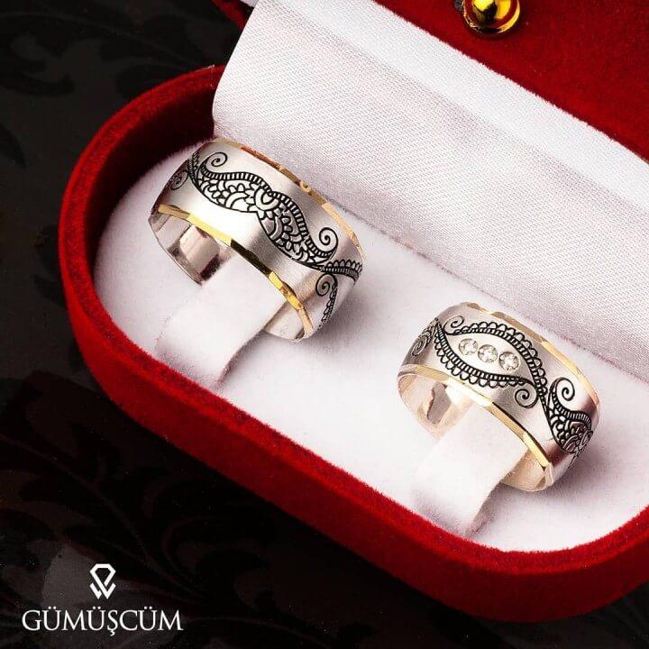 Nakış Gümüş Alyans Modeli Alyans Çifti