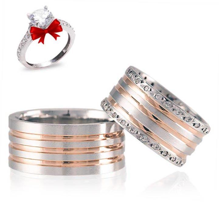 Ayışığı Rose Gümüş Alyans Modeli Taşlı Alyans Çifti