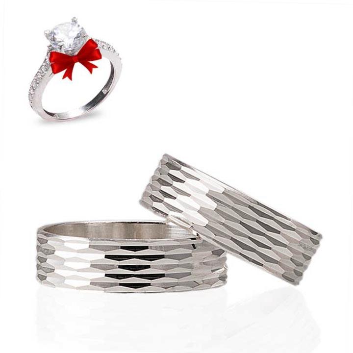 Elmas Modeli Gümüş Alyans Çifti Nişan ve Söz Yüzüğü