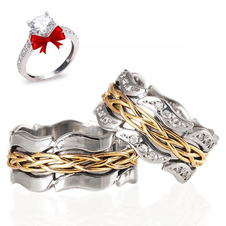 Oymalı Örgü Gümüş Alyans Modeli Altın Kaplama Alyans Çifti