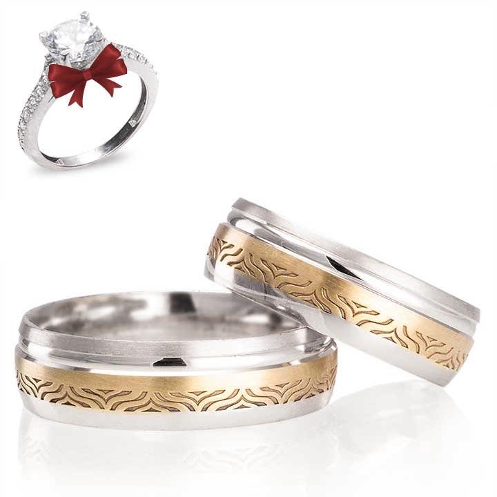 Wonders Gümüş Alyans Modeli Altın Kaplama Alyans Çifti