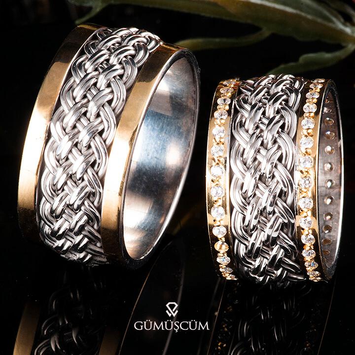 Örgü Gümüş Alyans Modeli Altın Kaplama Alyans Çifti