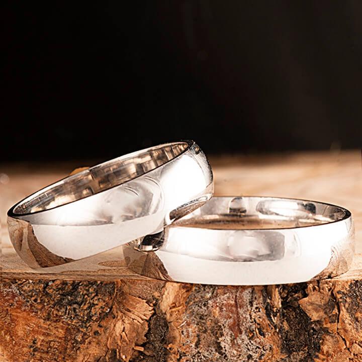 Bombeli 6mm Gümüş Alyans Çifti Nişan ve Söz Yüzüğü