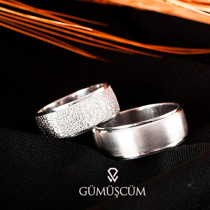 Defne Modeli Gümüş Alyans Çifti Nişan ve Söz Yüzüğü