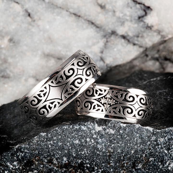Etnik Gümüş Alyans Modeli Alyans Çifti