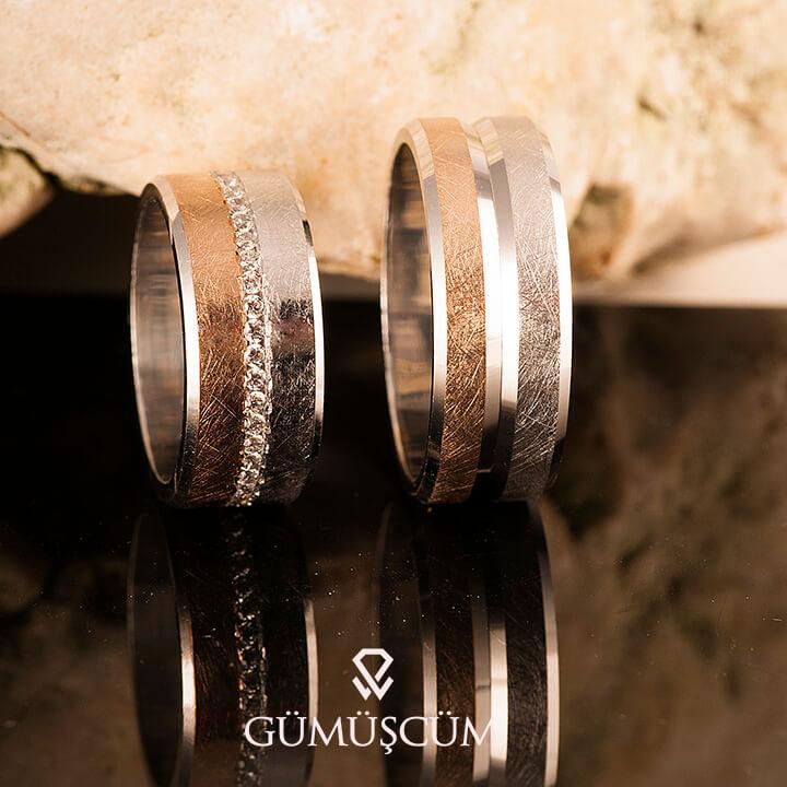 Rose Love Gümüş Alyans Modeli Taşlı Alyans Çifti