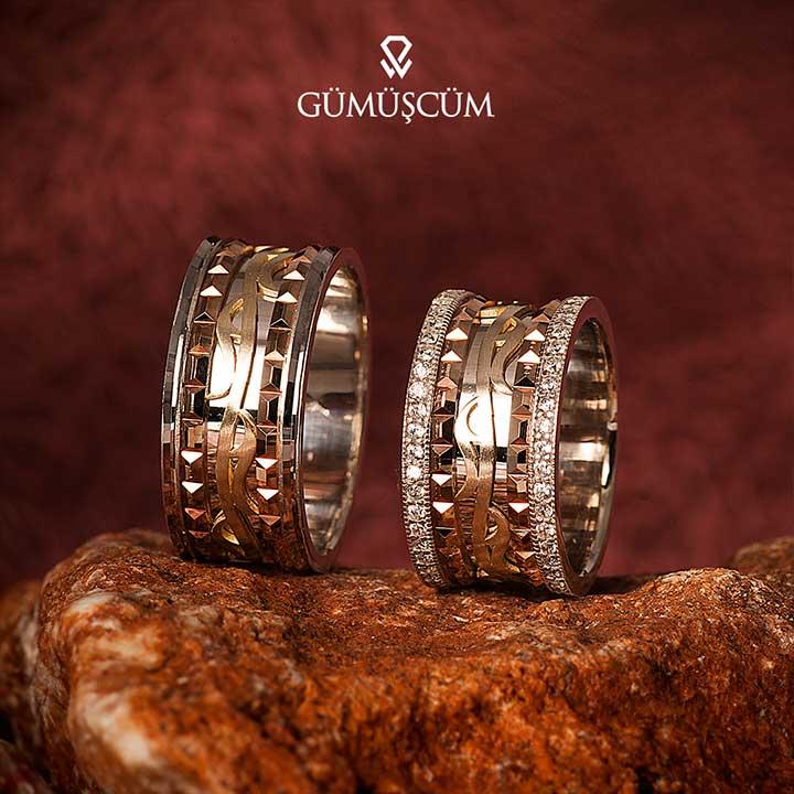 Motifli Gümüş Alyans Modeli Üç Renk Alyans Çifti