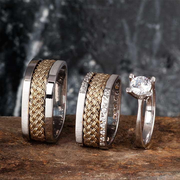 Kare Örgü Gümüş Alyans Modeli Taşlı Alyans Çifti