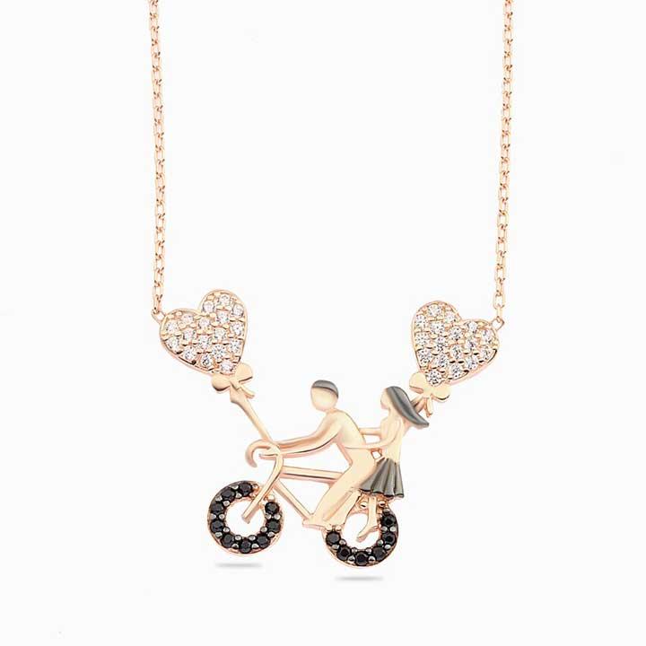 Bisiklet ve Balon Taşlı Bayan Gümüş Kolye