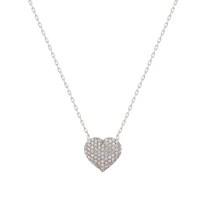 Kalp Taslı  Gümüş Kolye
