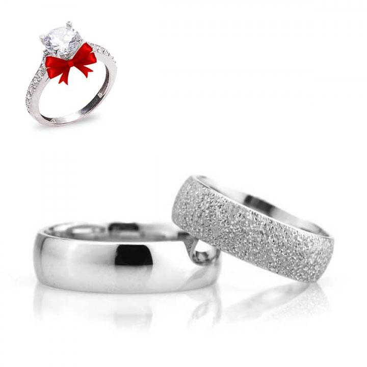Bombeli 6mm Kumlu Gümüş Alyans Çifti Nişan ve Söz Yüzüğü