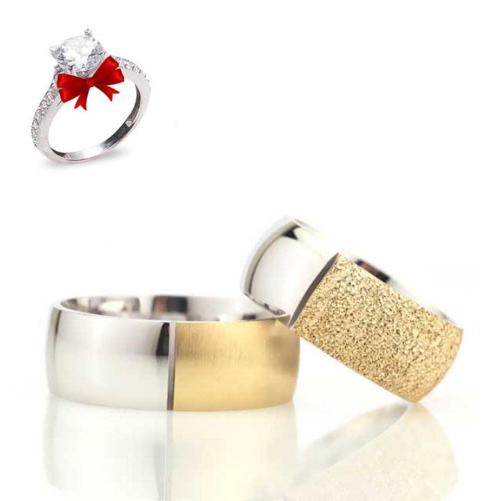 Taçlı Altın Kaplama Bombeli Gümüş Alyans Çifti
