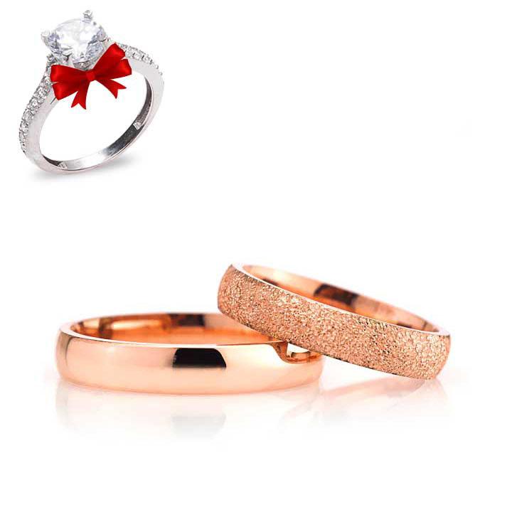 Bombeli 4mm Rose Kaplama Gümüş Alyans Çifti Söz ve Nişan Yüzüğü