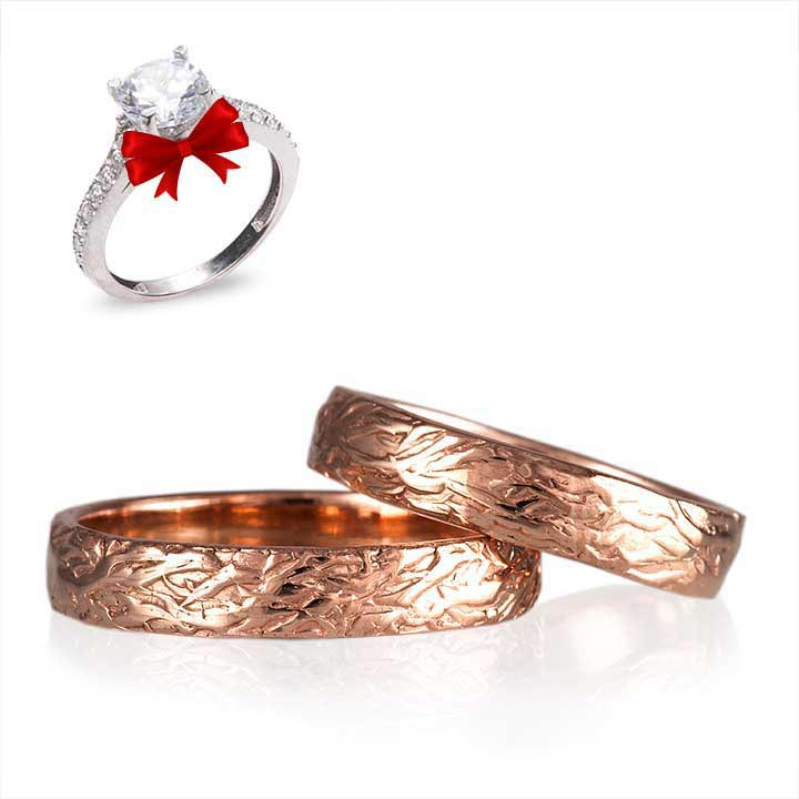 Rose Ağaç Kabuğu Rose Gümüş Söz Yüzükleri